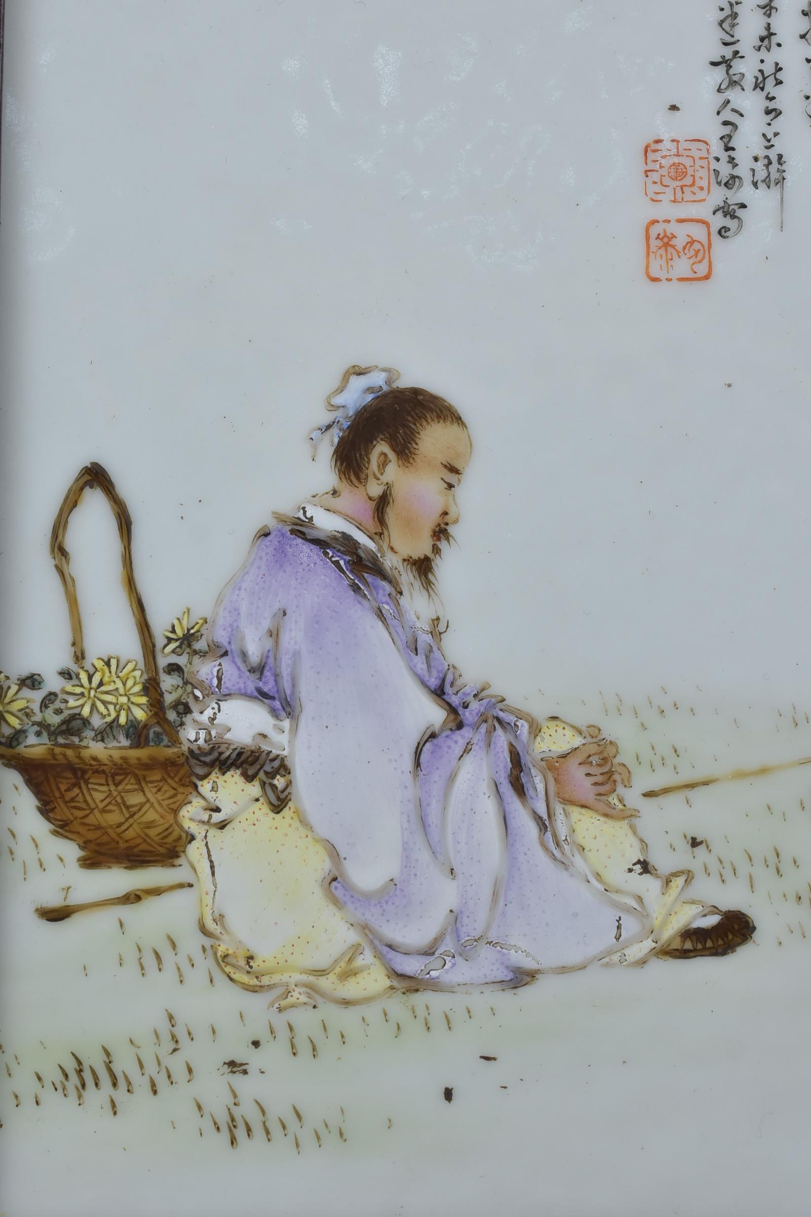 Lot 39 - A Chinese early 20th C. Famille rose porcelain plaque