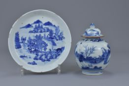 A Chinese 18th C. blue and white porcelain jar and cover