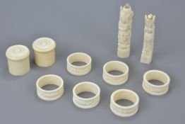 A set of six ivory napkin rings