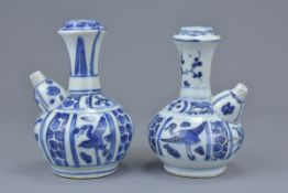 Two Chinese Ming dynasty blue and white porcelain Kendi