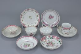 A group of ten Chinese 18th C. porcelain tea cups