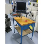 (5) Steel Frame Wood Top Work Benches
