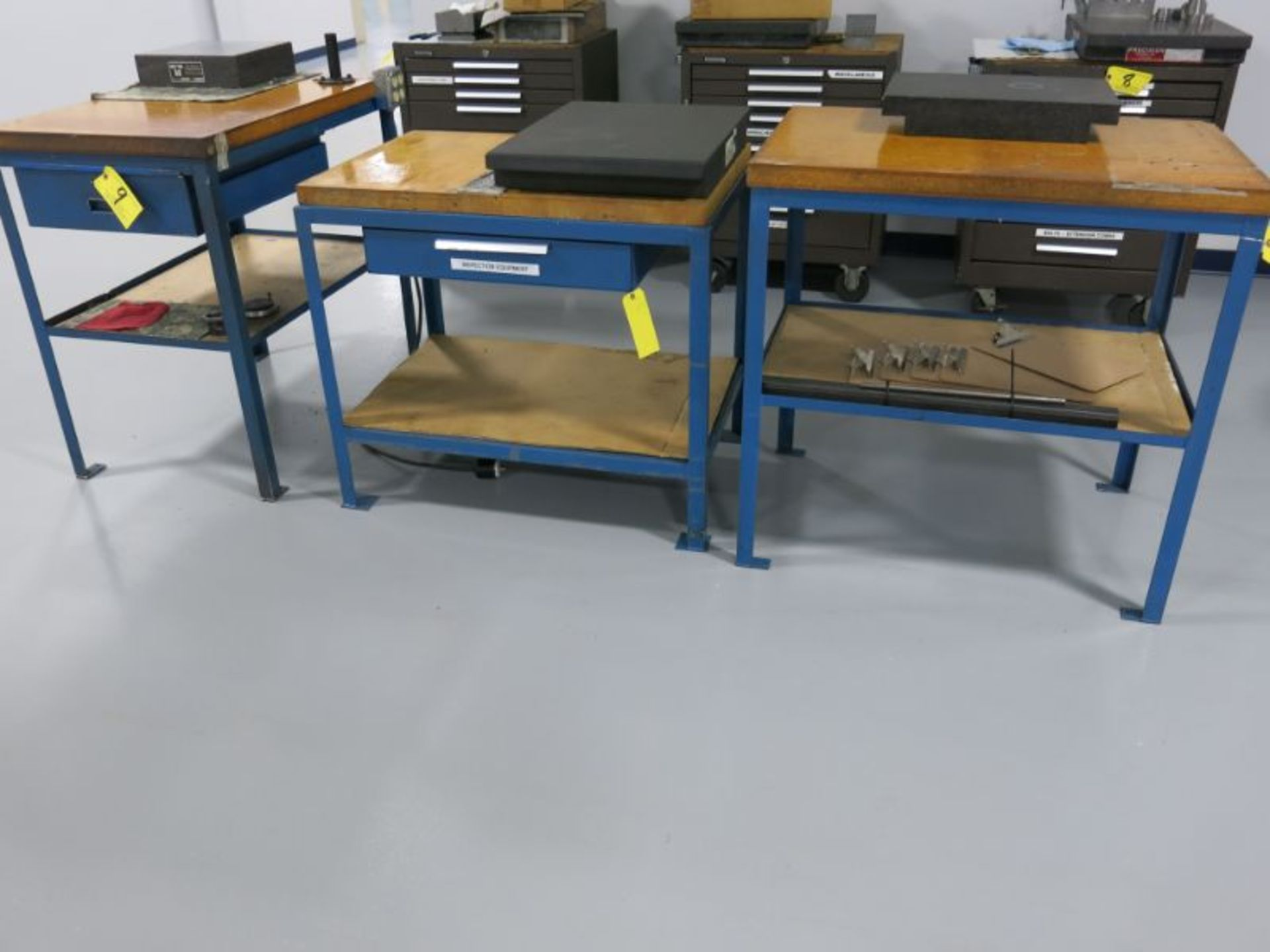 (3) Work Benches Including:(2) Single Drawer HD Steel Frame Butcher Block Top Work Benches
