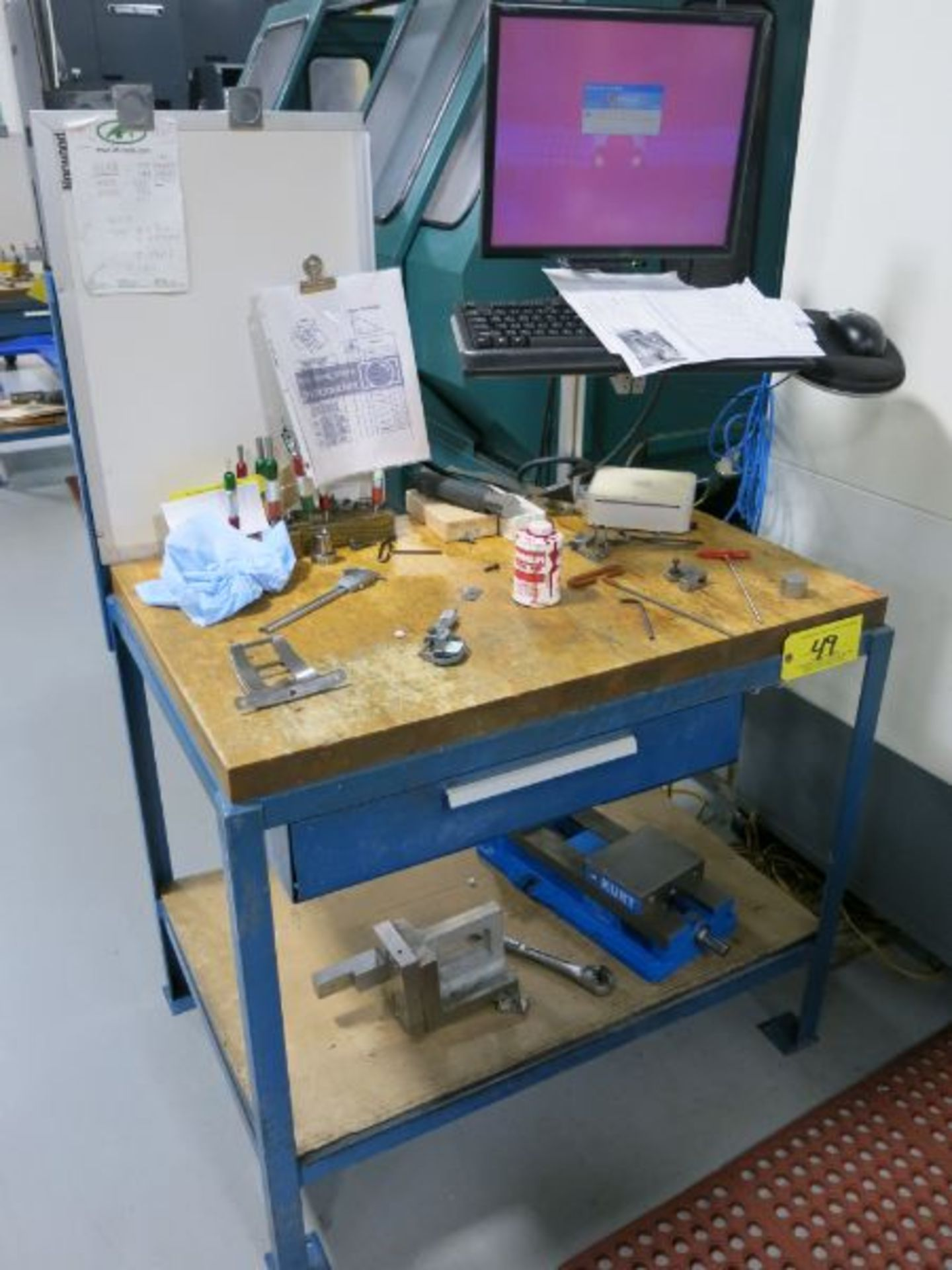 (5) Steel Frame Butcher Block Top Tables - Image 2 of 2