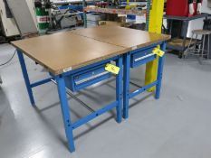 "(2) Global 48"" x 30"" Single Drawer HD Work Benches"