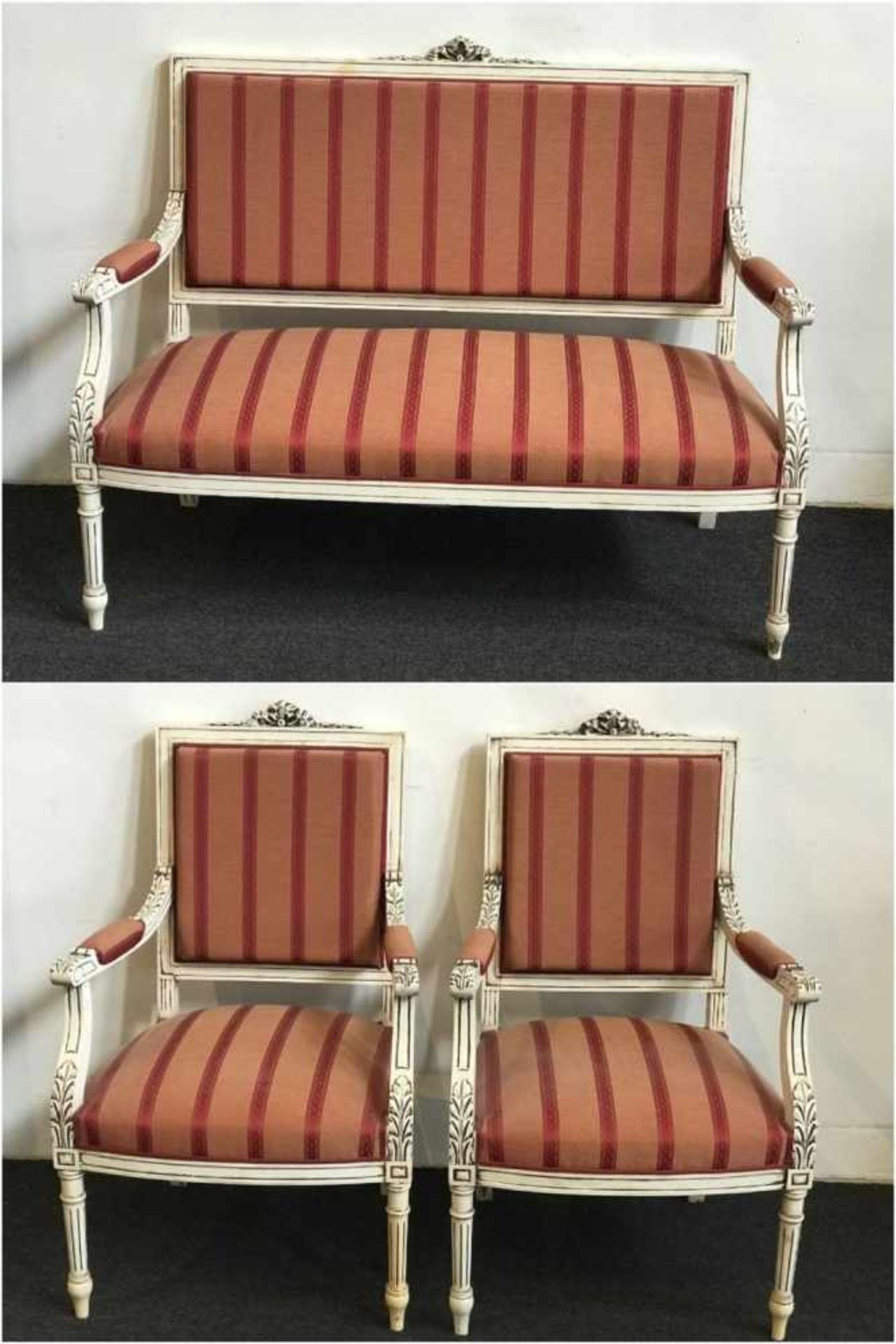 Louis XV salon two-seater and 2 single-seater