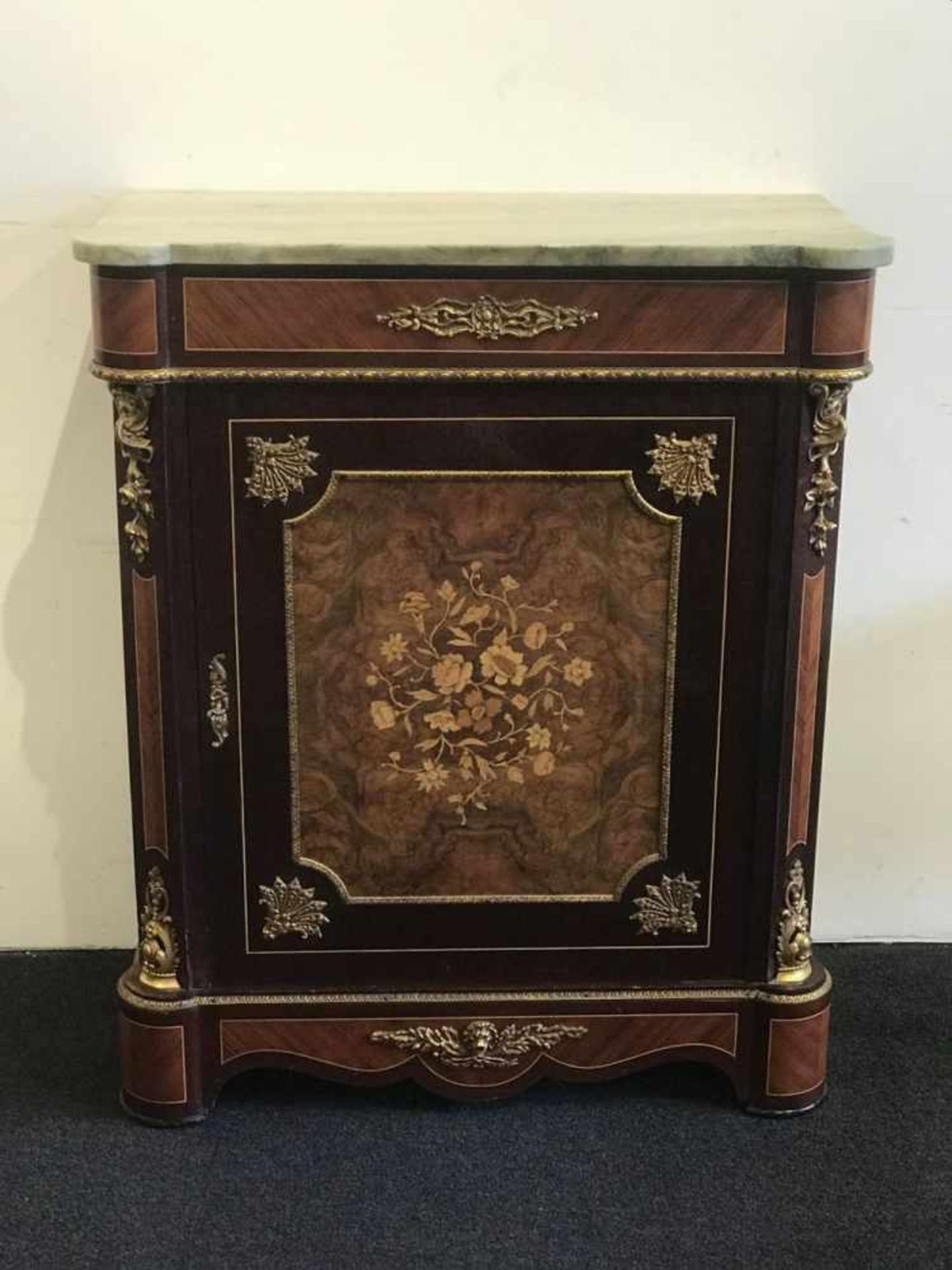 Cupboard style Napoleon III marquetry, root wood and marble top H 100 B 82 D 40 cm