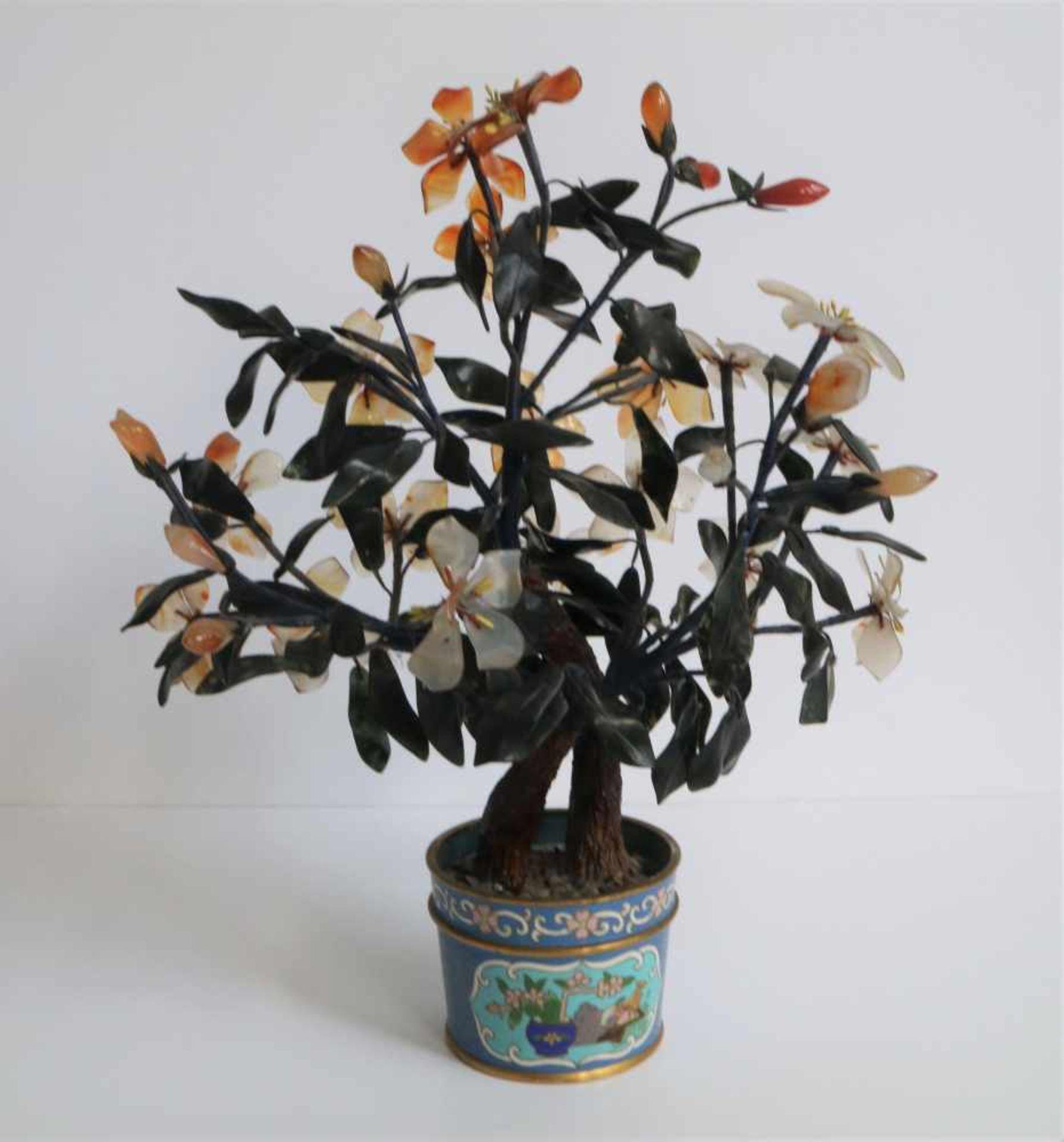 Los 413 - Chinese cloisonné cloisonné pot with flowers (glass) H 37 cm
