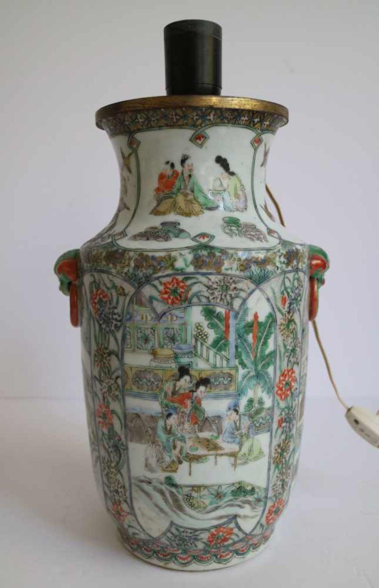Los 278 - Chinese vases transformed into lampadaires H 22 en 30 cm (enkel vazen) restorations