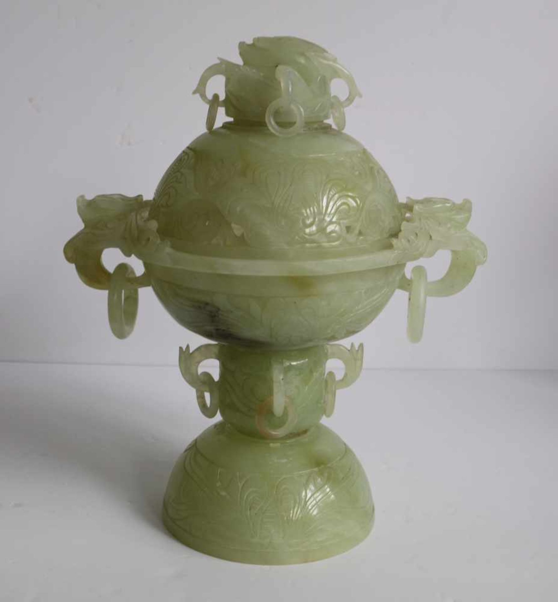 Los 701 - Chinese incense burner in serpentine H 34 B 29 cm