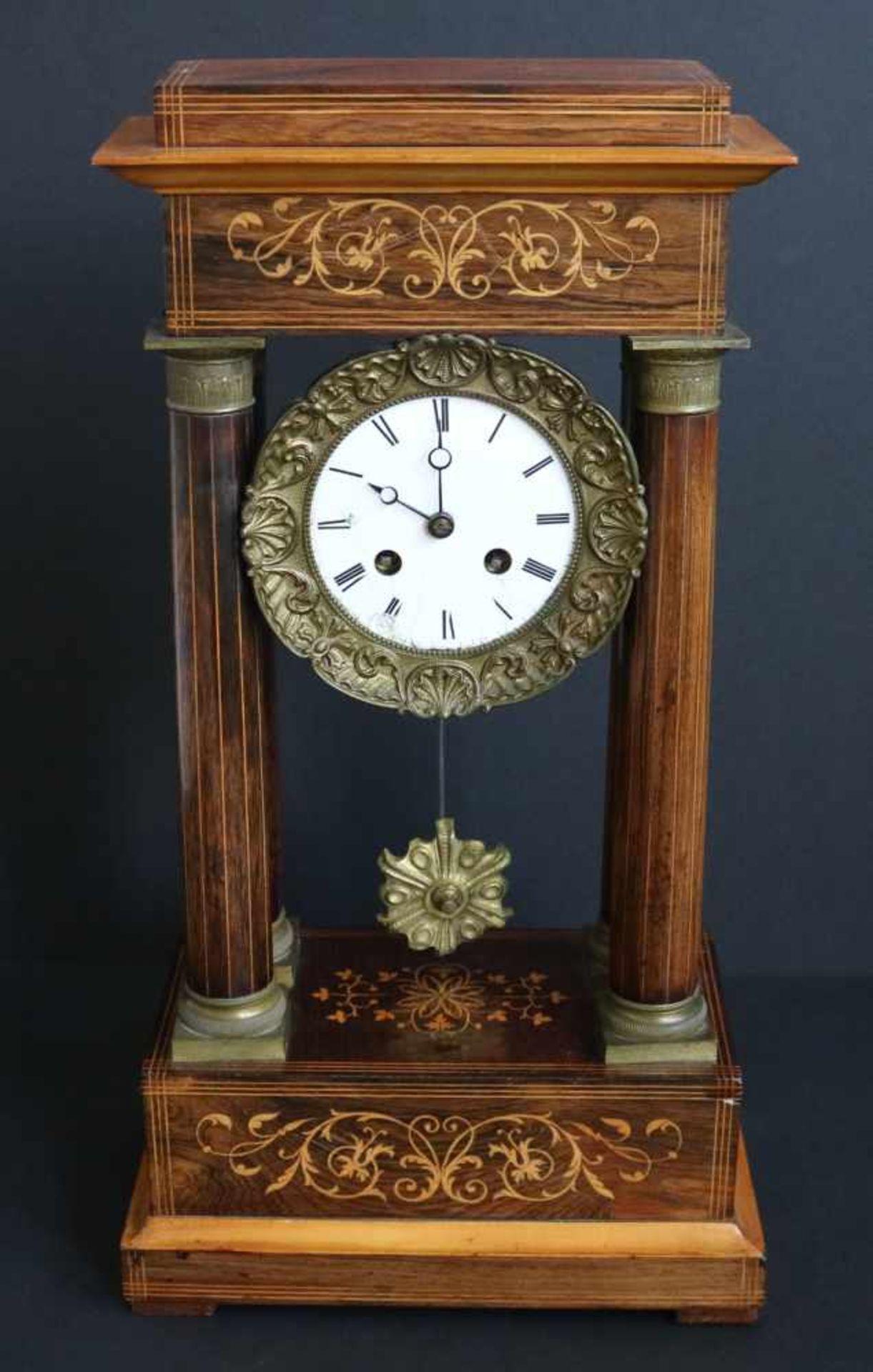 Los 98 - Column clock with marquetry 24,5 x 46 cm