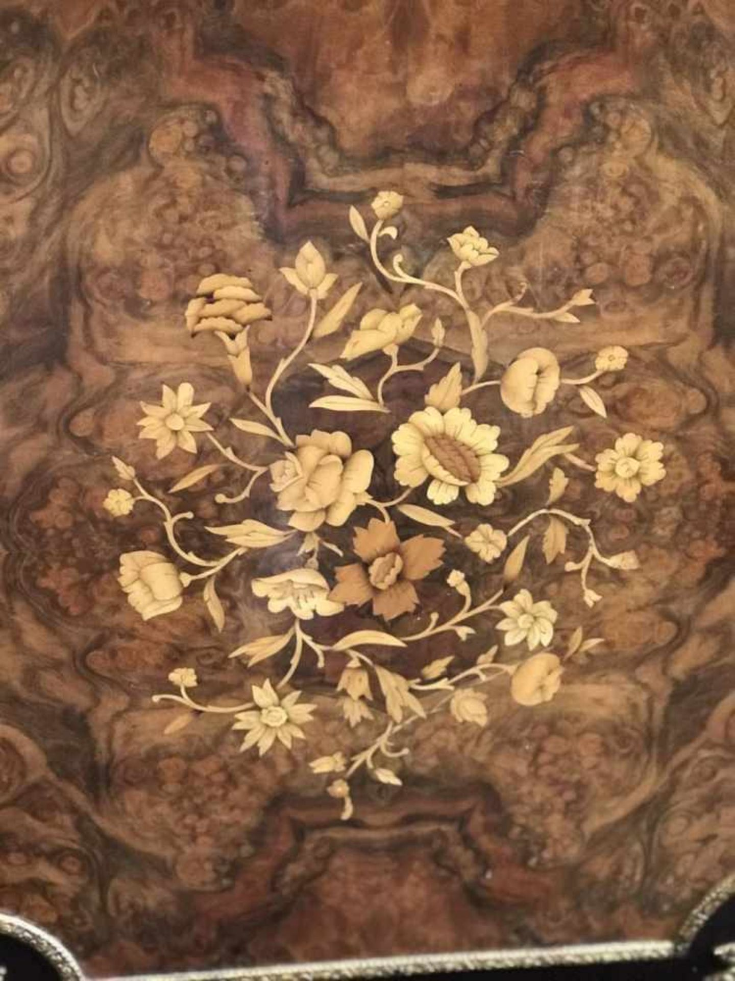 Cupboard style Napoleon III marquetry, root wood and marble top H 100 B 82 D 40 cm - Bild 3 aus 4