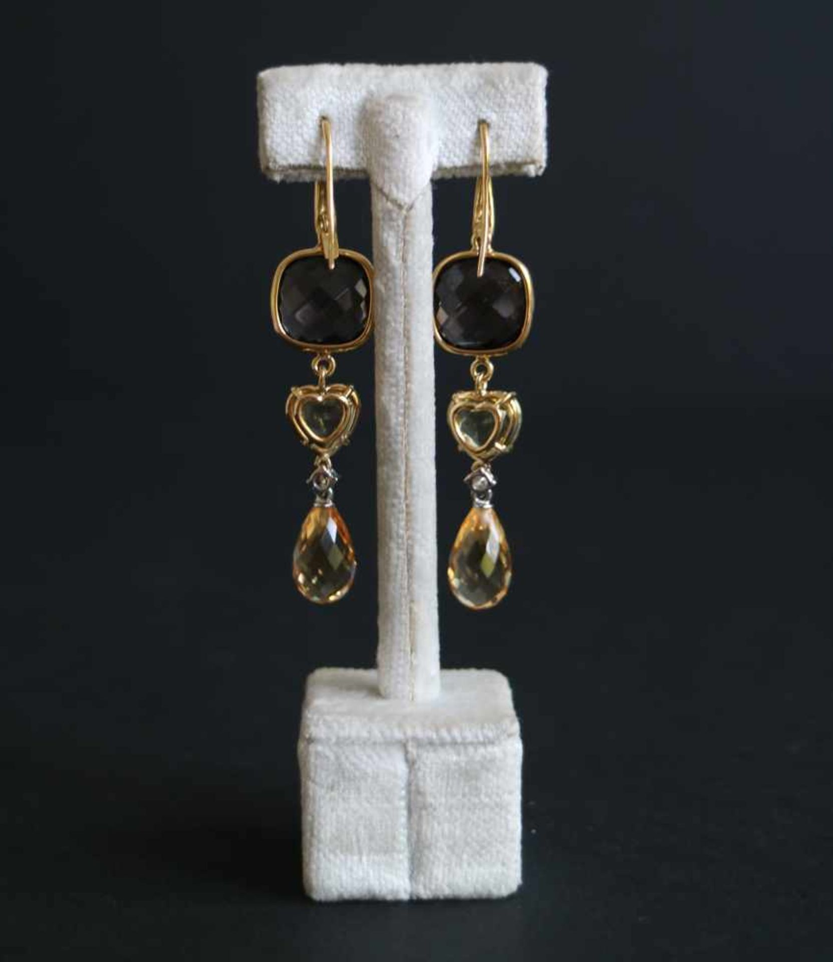 Los 944 - Earrings with diamond and semi-precious stones (smoky quartz and citrine), gold 18 Kt, 2 diamonds