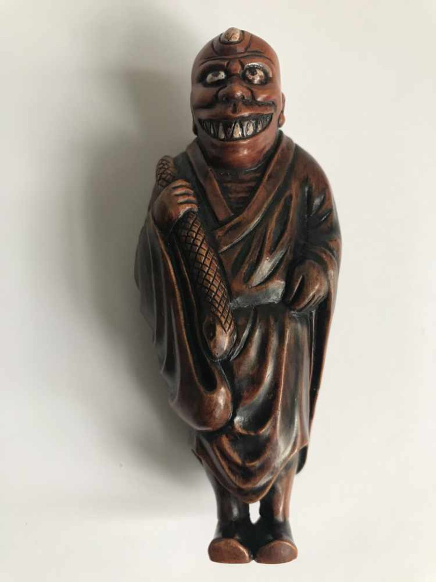 Los 478 - Boxwood netsuke Oni an Oni Japan MEIJI period H 9,4 cm signed private collection