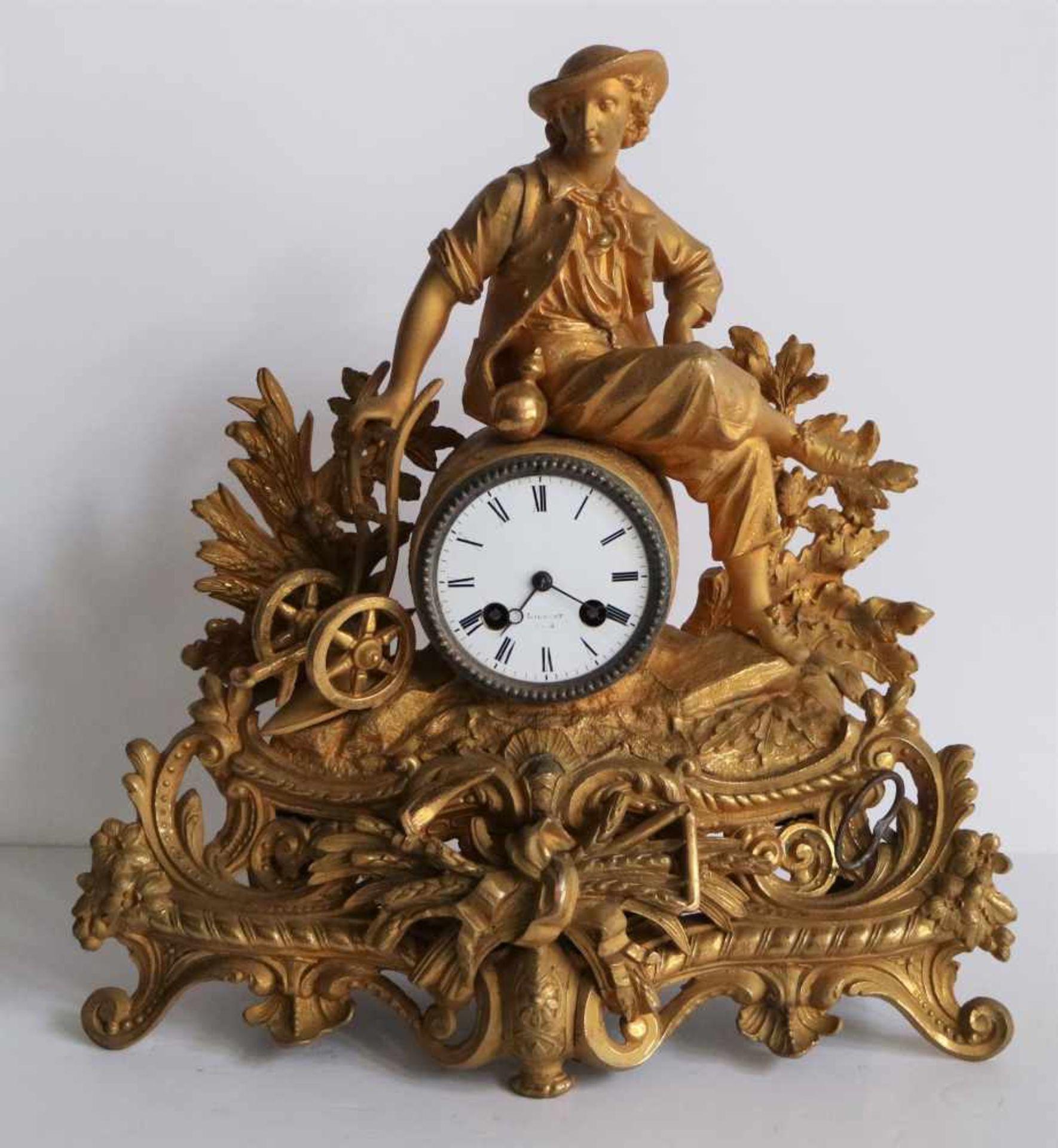 Los 341 - Louis Philippe clock Liébert GAND gilded romantic scene H 39 cm