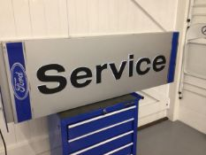 Original double sided and illuminated Ford Dealer Service sign