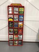 15 x Vintage oil cans, presented in custom built display cabinet