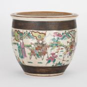 Chinese ceramic jardinière with painted scene