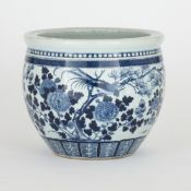 Chinese blue and white porcelain jardinière with floral designs