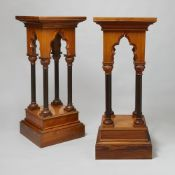 Pair of Gothic revival style wooden pedestals