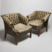 Pair of Chesterfield leather armchairs