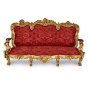 Antique Italian Baroque style settee with Bacchic motifs
