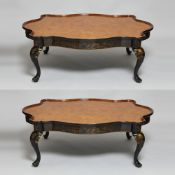 Pair of Chinoiserie style lacquered coffee tables