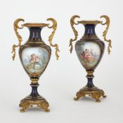 Pair of Sevres style porcelain and ormolu mounted vases