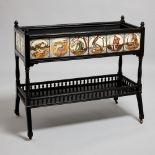 Victorian Arts and Crafts ebonised wood jardiniere with Minton style tiles