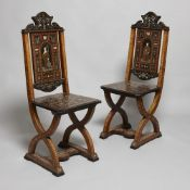 Pair of 19th century Italian ivory, bone and metal inlaid chairs