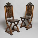 Pair of 19th century Italian ivory, bone and metal inlaid chairs
