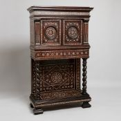 Antique Indian ivory inlaid hardwood cabinet on stand