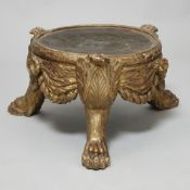 Triform giltwood stand with claw feet