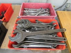 Bins of Assorted Metric and Standard Wrenches