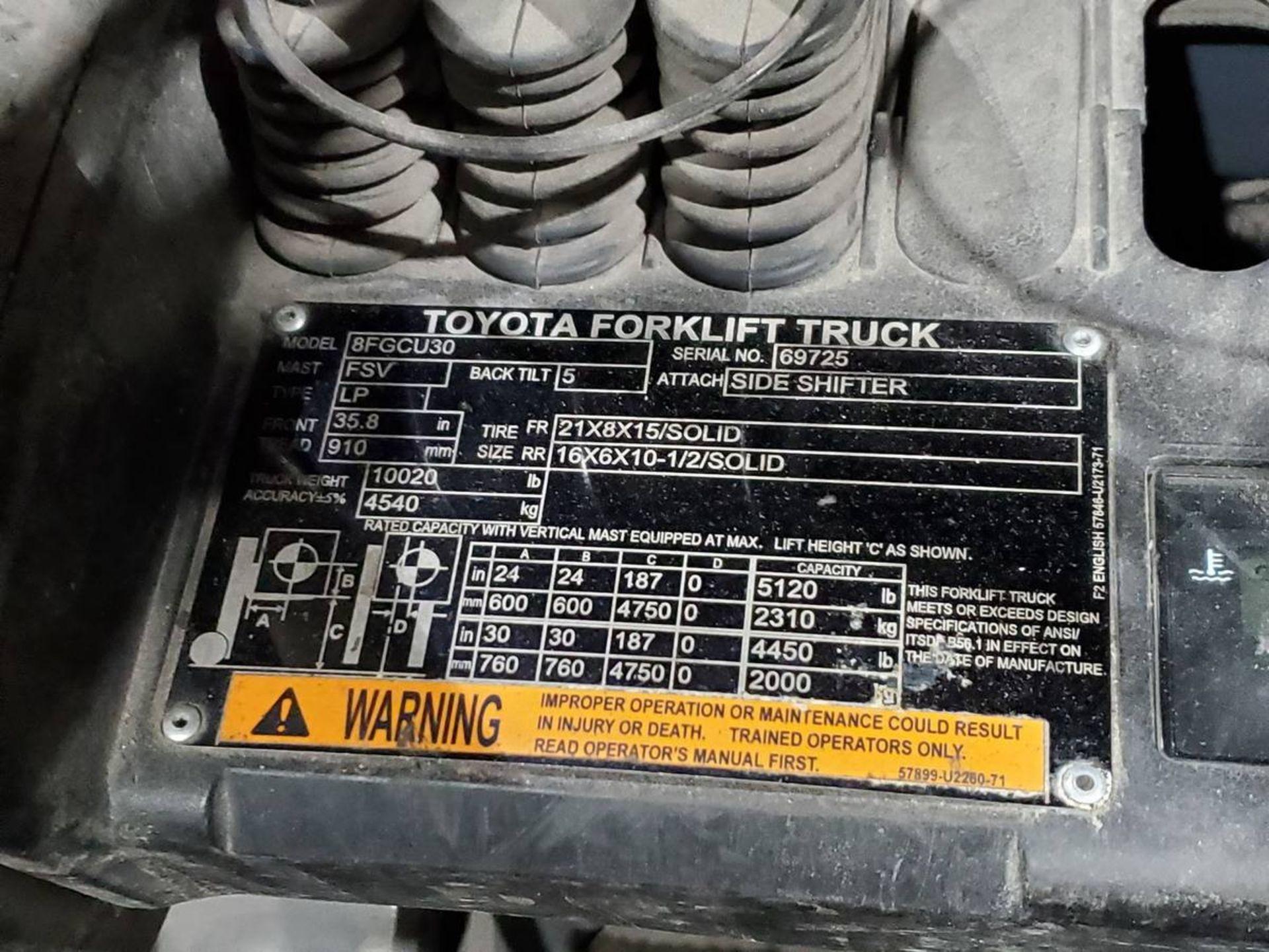 2015 Toyota 8FGCU30 LPG Forklift - Image 9 of 9