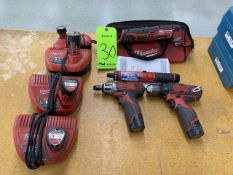 Lot of (4) Assorted Milwaukee Lithium Ion Power Tools and Batteries