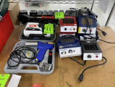 (1) Weller Soldering Gun, (1) Hakko Soldering Gun, (1) Soldering Iron Tip,and (6) Multi-Cure Ovens