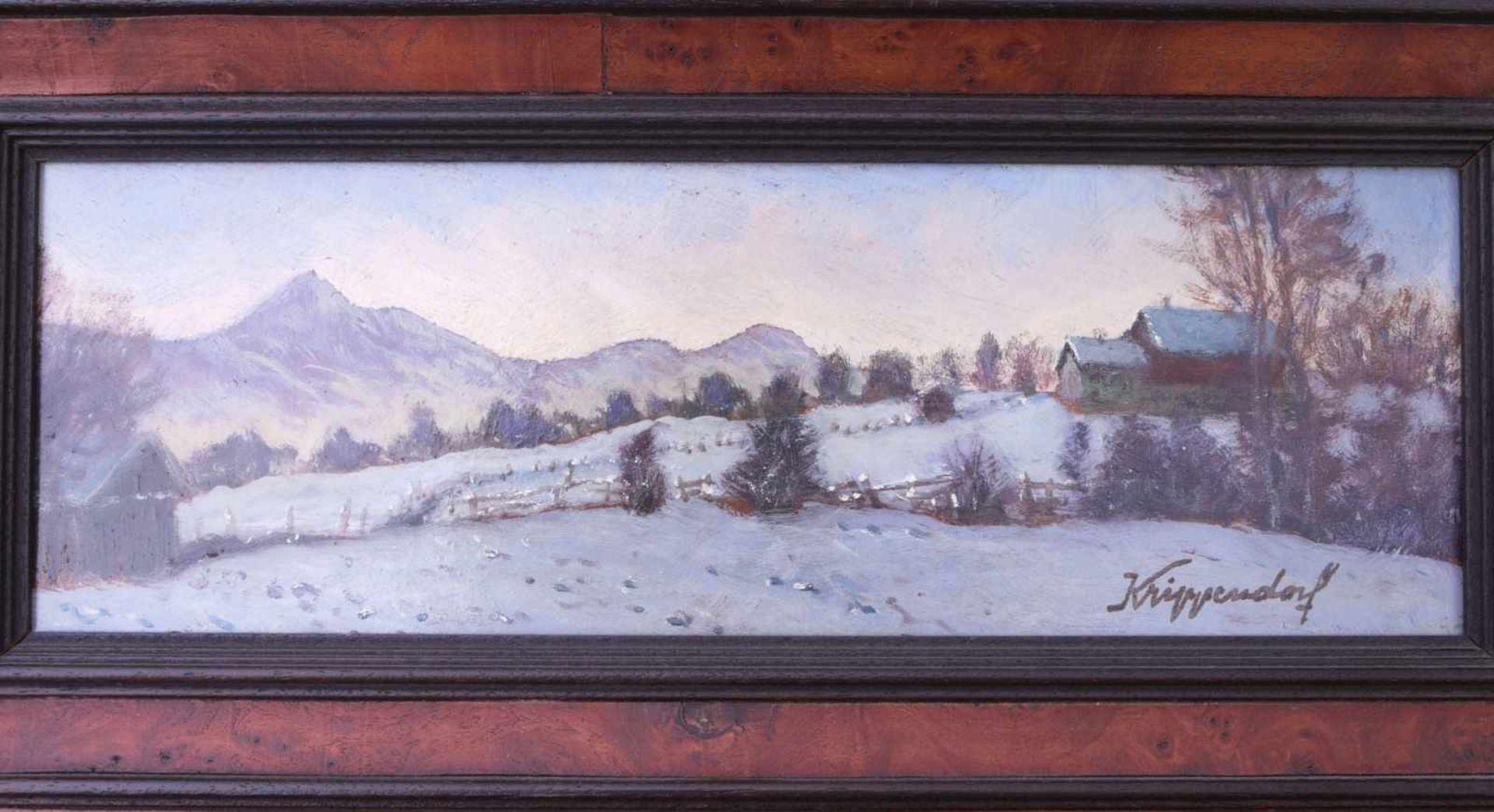 Krippendorf, Franz (1907-1982) - WinterlandschaftDekoratives gestrecktes Querformat. Darauf ein - Bild 2 aus 3