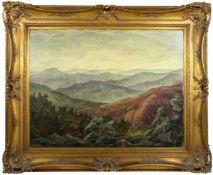 Heuberger, Ludwig - Gebirgslandschaft 1938Weitläufige Gebirgslandschaft unter von Wolken bedecktem