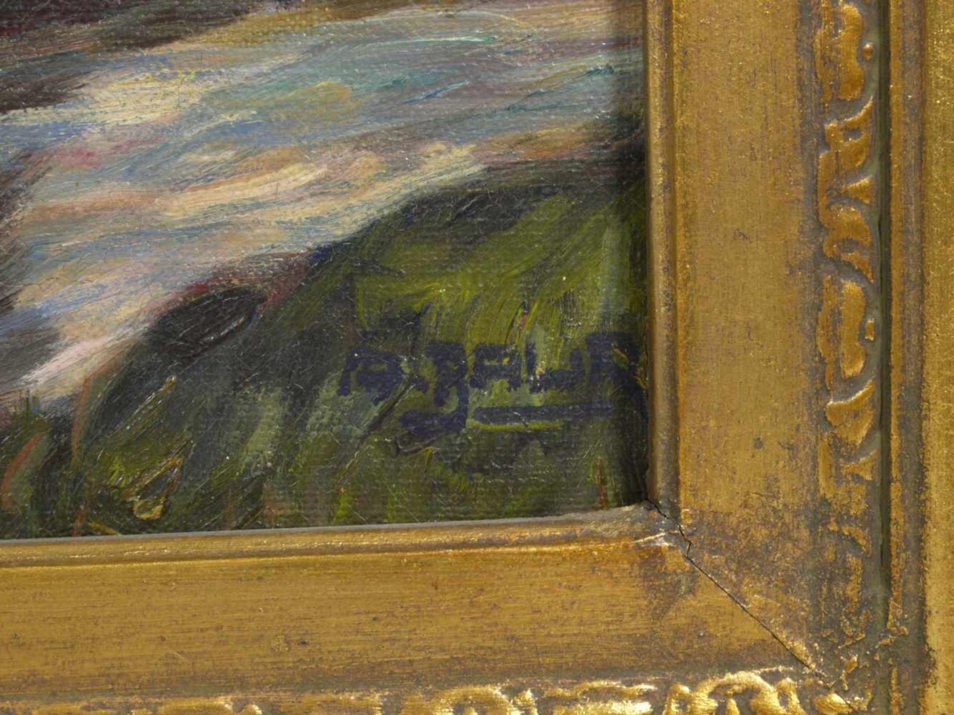 Baur, Albert (1867-1959) - Sonniger Tag an der Anger (Niederrhein)An einem mit vier großen Weiden - Bild 4 aus 6