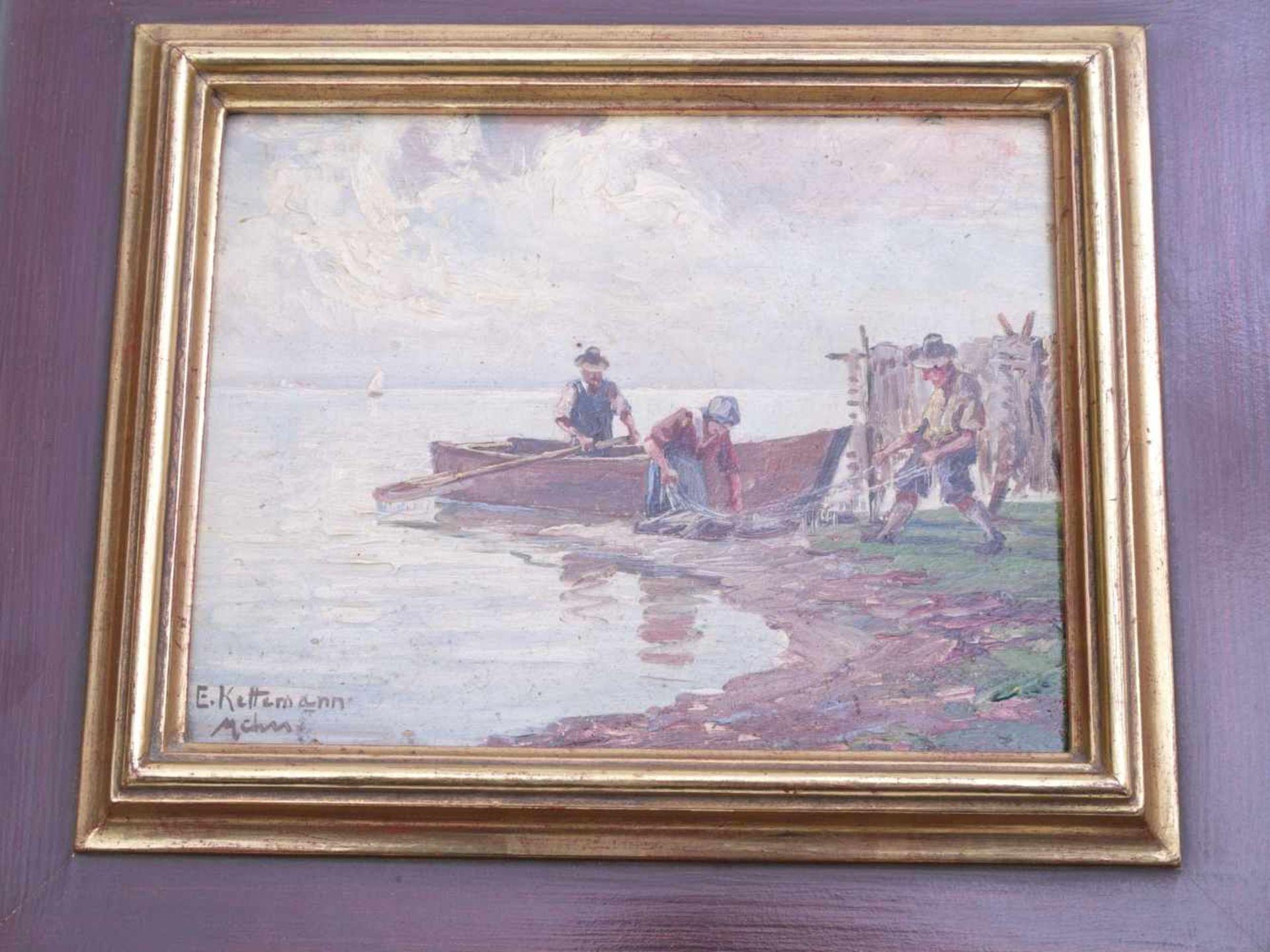 Kettemann, Erwin (1897-1971) - Fischer am Chiemsee MünchenBlick auf drei Fischer am Ufer des Sees, - Bild 2 aus 5