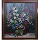Sig. A. Brecht - Großformatiges BlumenstilllebenNahezu quadratisches Format, mittig auf einem
