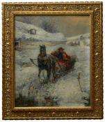 Prucha, Gustav (1875-1952) - Schlittenfahrt durch die Taiga um 1920Verschneite dörfliche