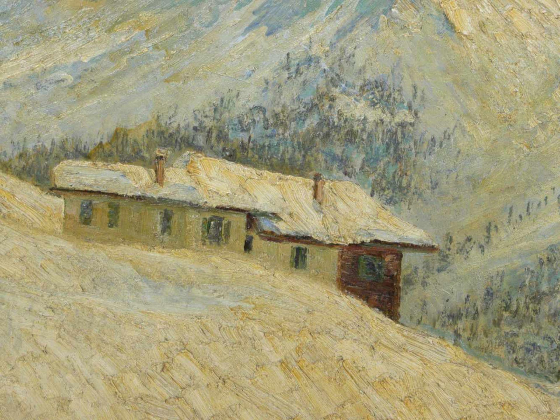 Koch, Michel (1853-1927) - Winterlandschaft Arosa 1915Winterliche Gebirgslandschaft mit idyllisch - Bild 3 aus 6