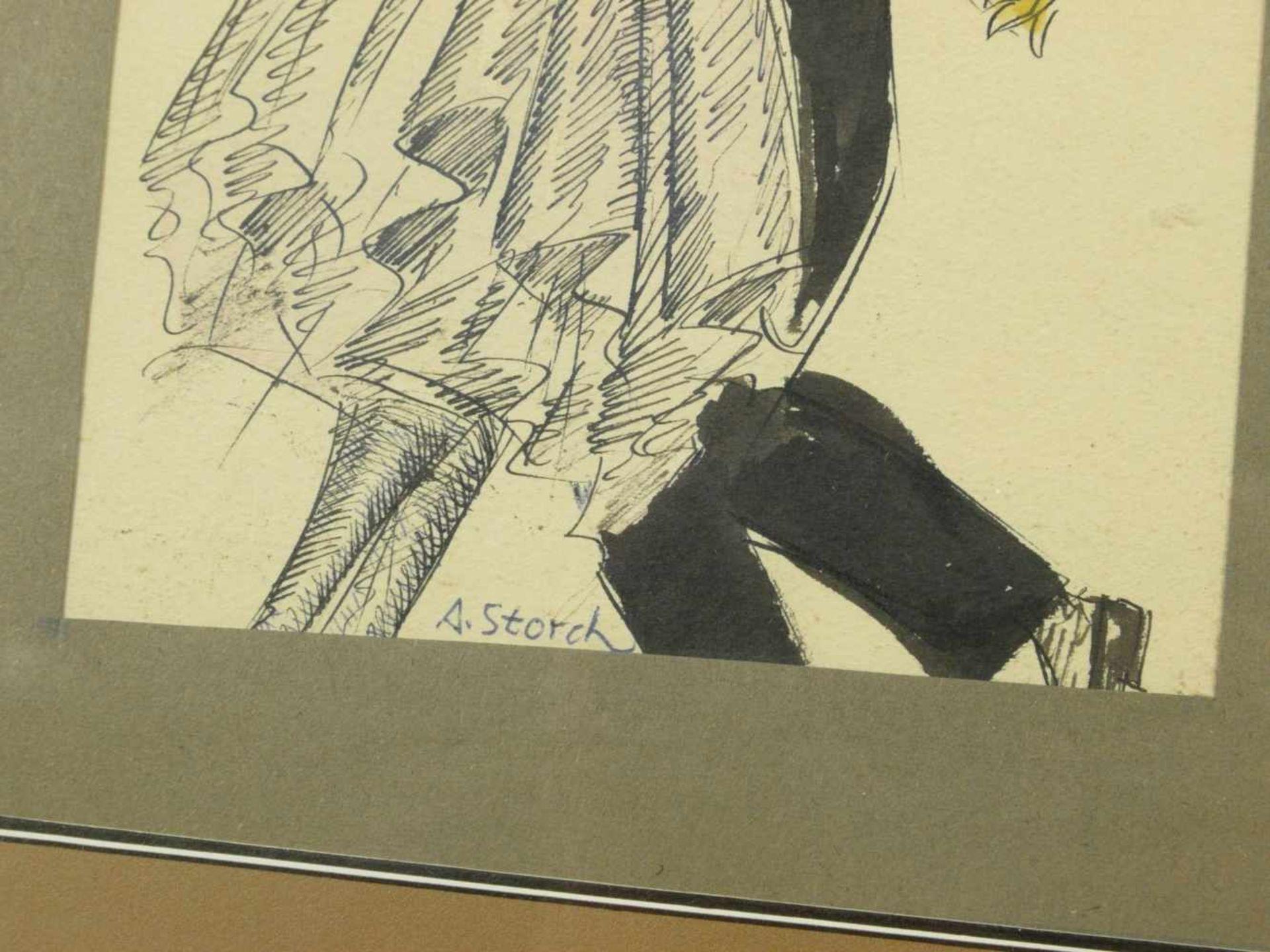 Storch, Josef Anton (1892-1979) - Tanzendes Paar ZeichnungSchwungvolle Zeichnung eines aneinander - Bild 3 aus 4