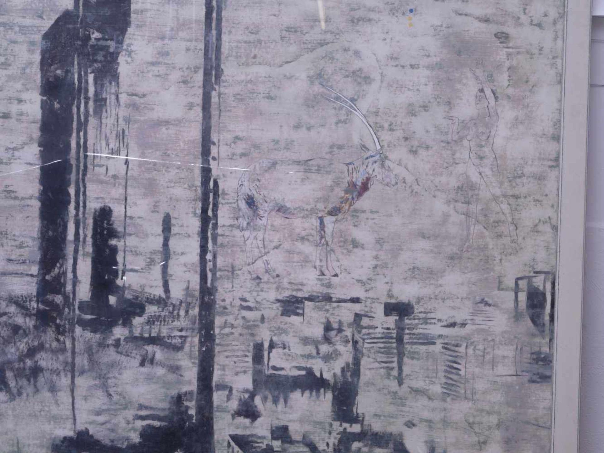 """Dauphin, Peter genannt Muth (Nürnberg 1957) - Großformatiges Gemälde """"Alpstadt""""Sehr großes - Bild 4 aus 6"""