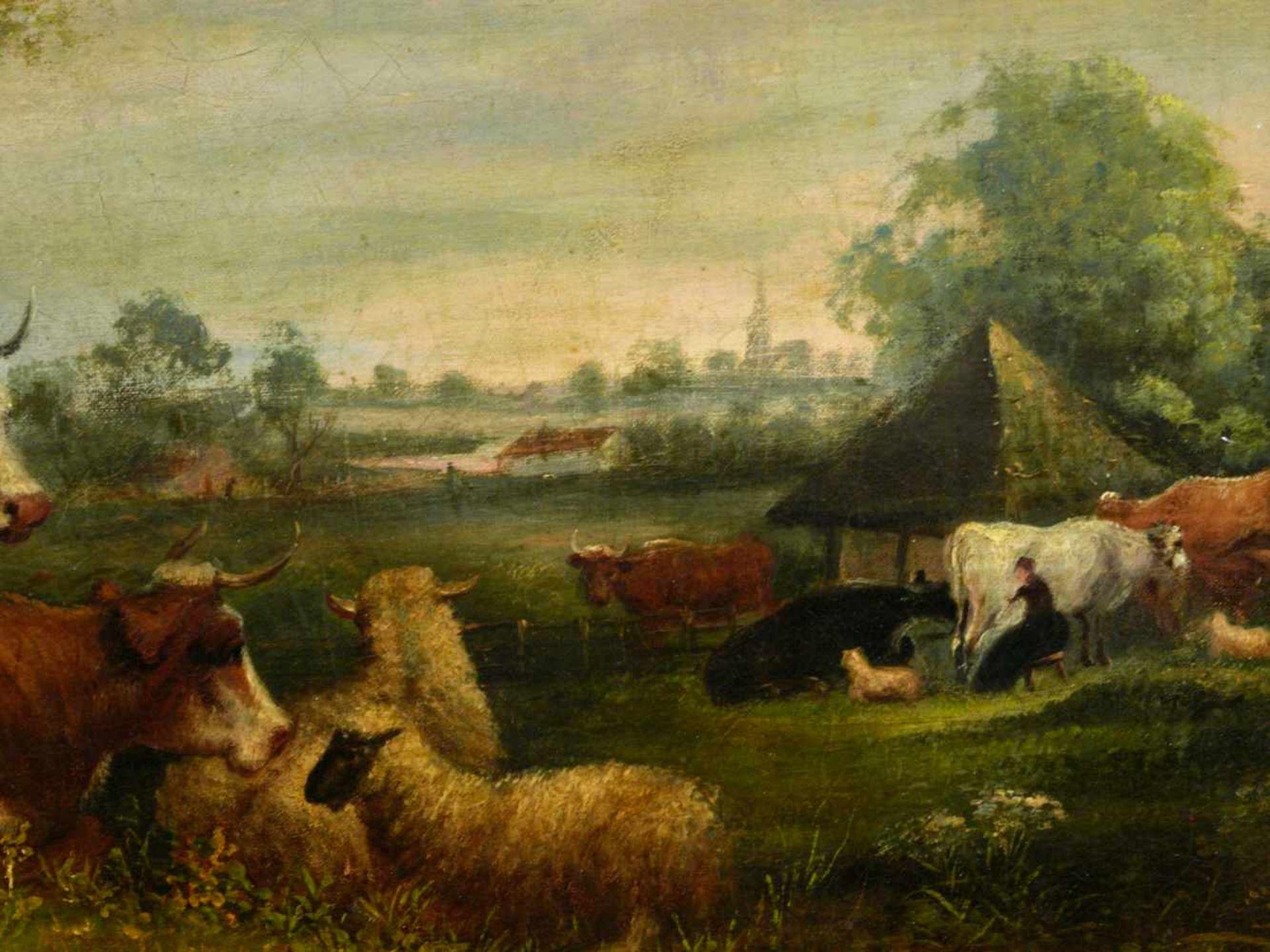 Van Os, Pieter Gerardus (1776-1839) - Romantische Landschaft mit Tieren und SchäferIdealistische - Bild 7 aus 8