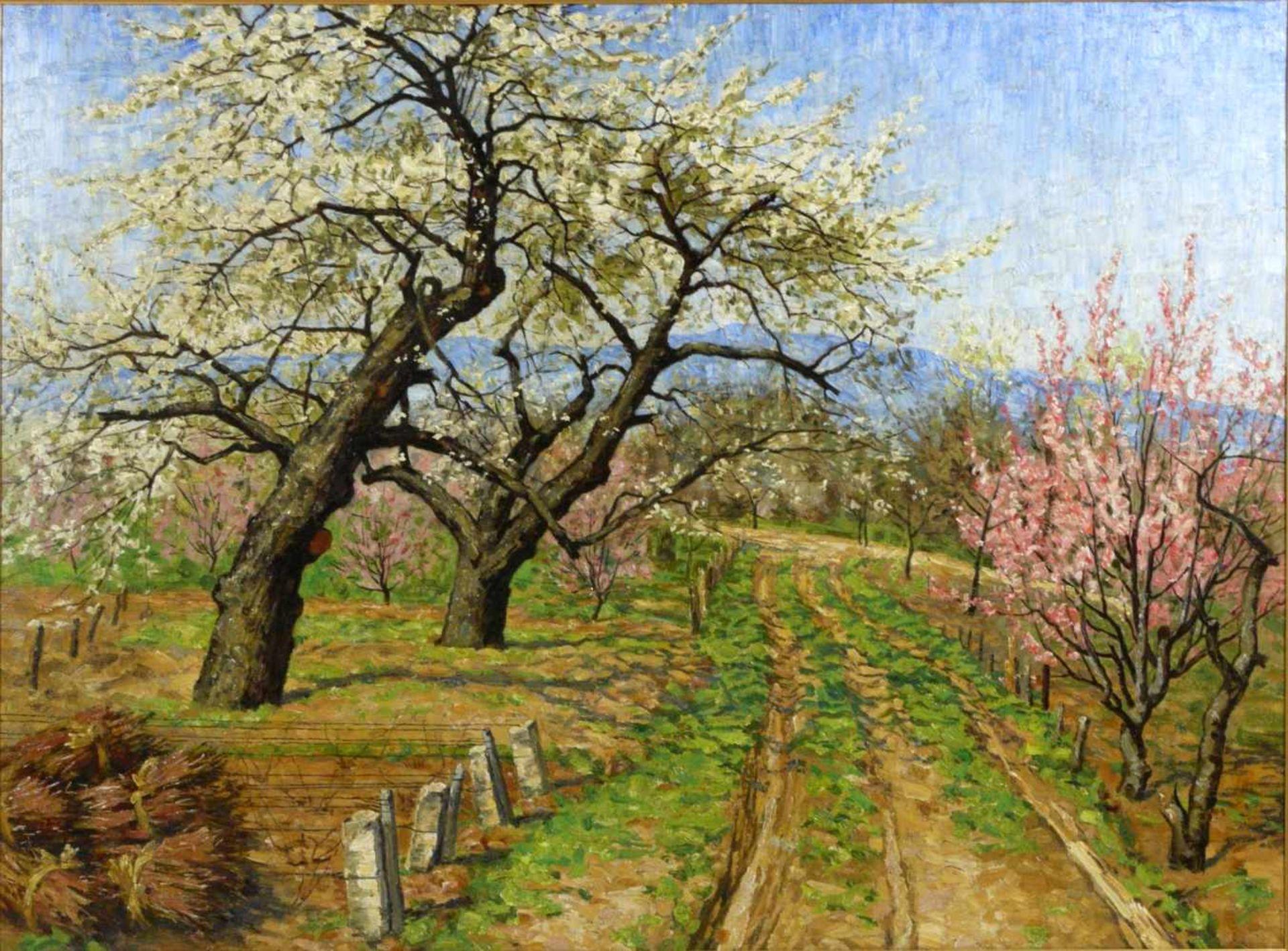 Koch, Michel (1853-1927) - Blühende FrühlingslandschaftFriedvolle Darstellung eines von blühenden - Bild 2 aus 6