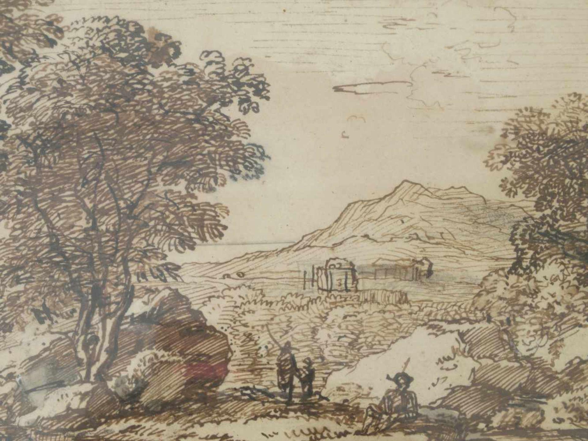 Kobell, Ferdinand (1740-1799) - Federzeichnung LandschaftWeiter Blick auf eine Hügellandschaft, in - Bild 3 aus 4