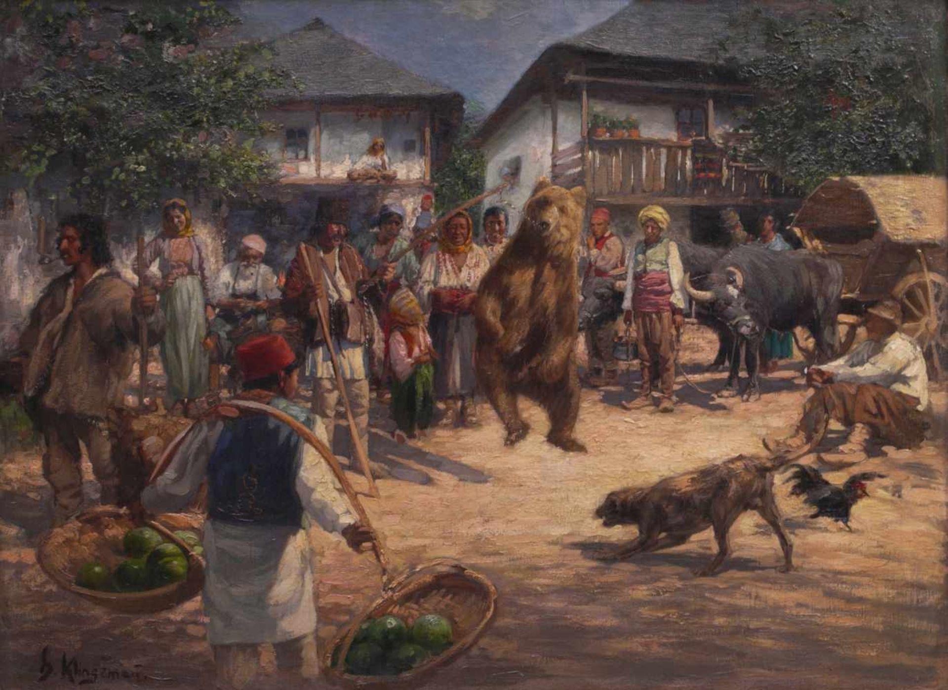 Klingemann, Hugo (1869-1942) - Tanzbär in RumänienDörfliche Szenerie, die Gemeinschaft hat sich - Bild 2 aus 6
